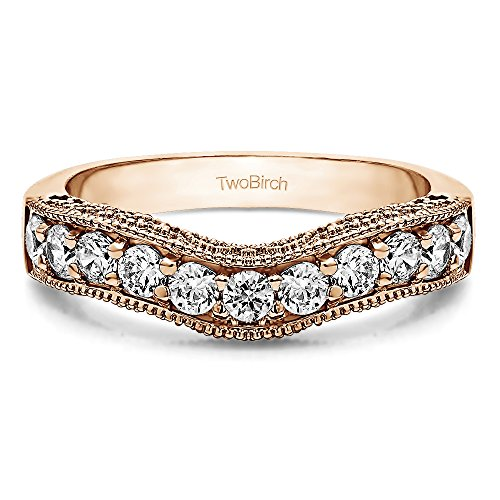 cz-vintage-filigree-milgrained-wedding-band-set-in-rose-silver-1-ct-twt-with-cz-in-rose-silver-1-ct-