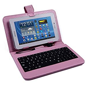 "HDE Hard Cover Case with Keyboard for 7"" Tablet - Pink"