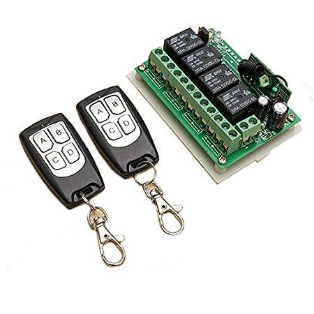 Funkfernbedienung INSMA 433 MHz 12V 4CH Wireless Fernbedienung Schalter Relaisschalter 2 Transceiver mit 1 Empfänger Remote C