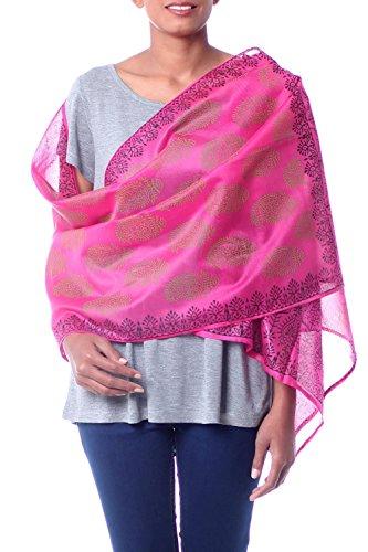 NOVICA Pink Cotton and Silk Shawl, 'Festive Diwali' by NOVICA