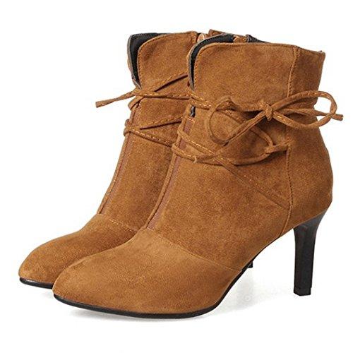 Stiletto Ankle with Brown RAZAMAZA Fashion Zipper Women Boots Booties Heel Dress wwRP4xq