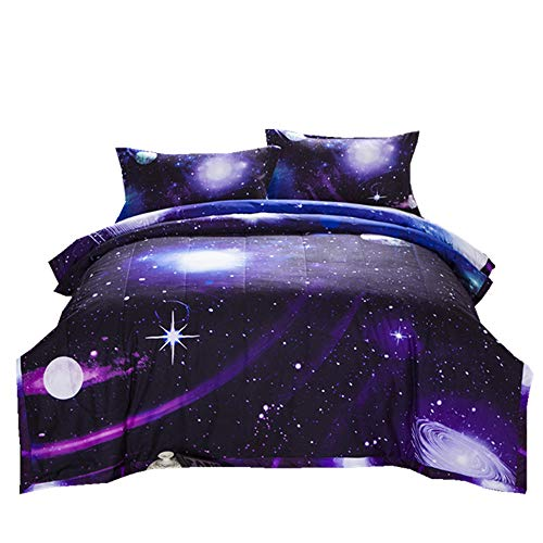 NTBED Galaxy Comforter Set Full, Sky Oil Printing Outer Space Reversible Quilt Bedding Sets (xk007, 79''x90'')