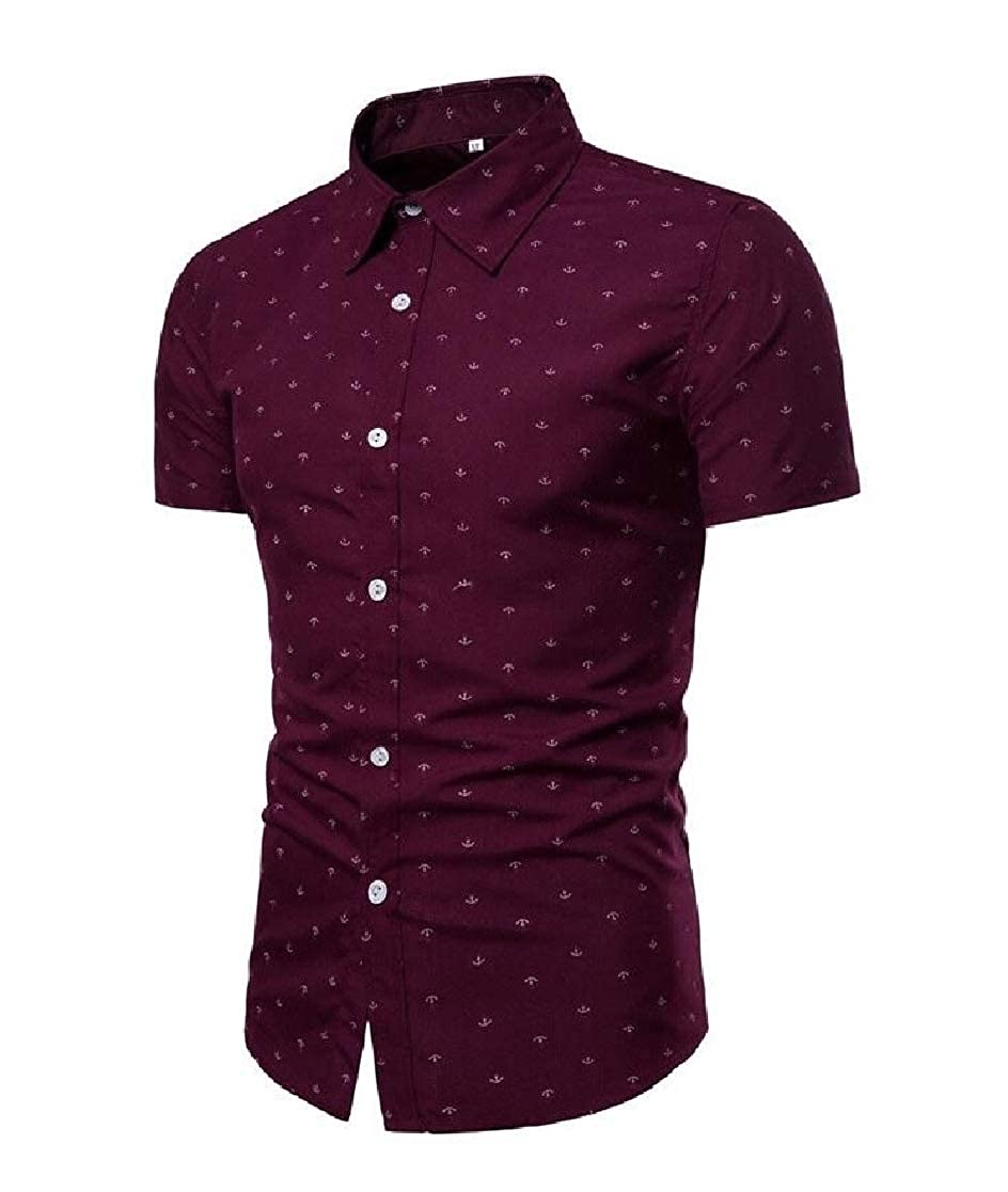 Cromoncent Mens Short Sleeve Beach Print Button Down Top Shirts