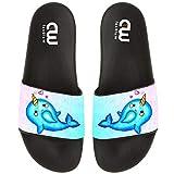 Narwhal Unicorn Heart Summer Slide Slippers For Girl Boy Kid Non-Slip House Sandal Shoes size 2