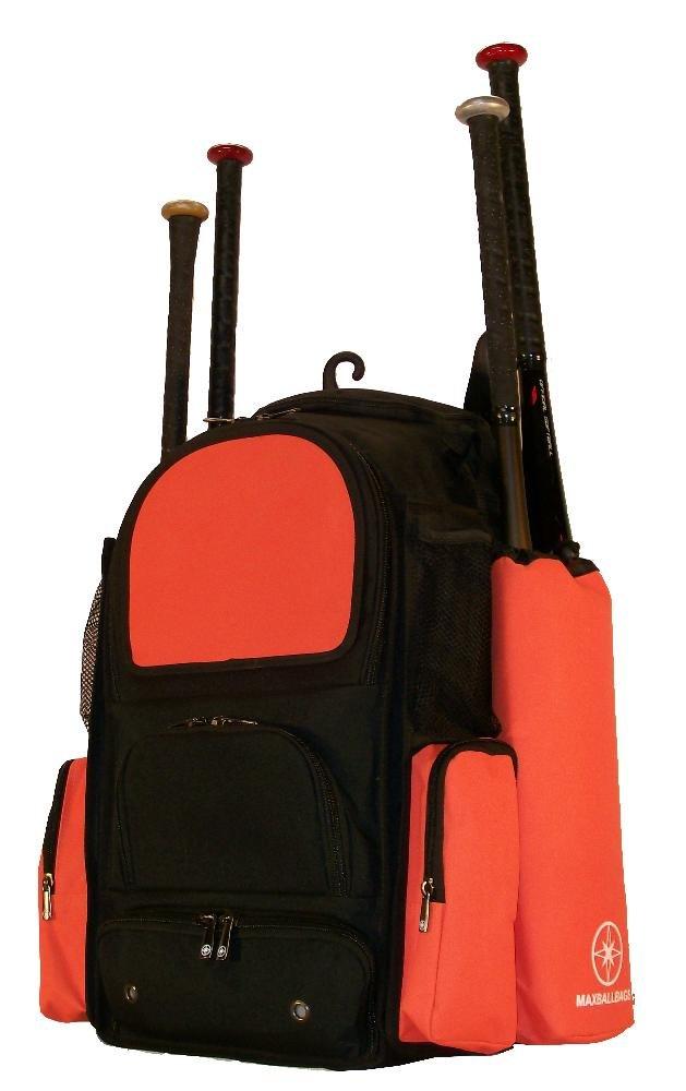 新しいデザインMedium Vista M inブラックandオレンジTeenソフトボール野球バット機器バックパックwith Removableバット袖と刺繍パッチ B01MU3PHDW