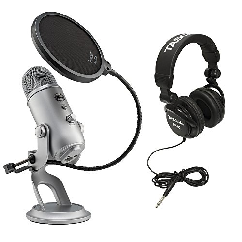 Blue Microphones Yeti USB Microphone with Full-Sized Headphones and Pop Filter for Yeti Microphone (Space Grey Monotone)