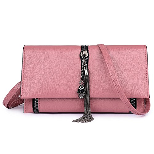 FZHLY Neue Damen Hochwertige Leder-Schulter-Kurier-Beutel-Troddel-Covered-Tasche,Pink