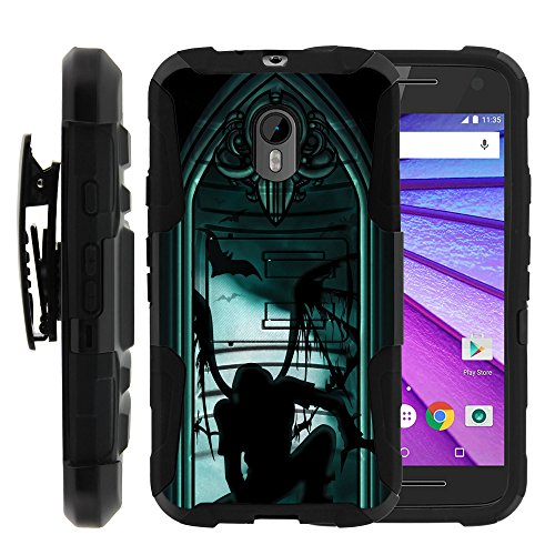 MINITURTLE Case Compatible w/ Moto G (3rd Gen) Case, Moto G 3rd Generation (2015), High Impact Belt Clip + Holster Stand Hard Shell Case Demons | Skulls | Monster Person - Moto Case G Monster