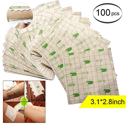 Transparent Stretch Adhesive Bandage Waterproof Bandage Roll Transparent Film Dressing Second Skin Healing Protective Clear Adhesive Bandages Tattoo Supplies Products (2.8 * 3.1inch) ()