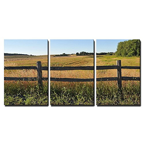 wall26 - 3 Piece Canvas Wall Art - an Old Wood Fence with a Green Country Field Behind It. - Modern Home Decor Stretched and Framed Ready to Hang - - Canvas Fence