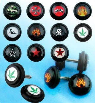 Fake Black Iron Cross Logo Plugs - 14 Gauge Earwire - 2G Fake Part - Sold as a Pair