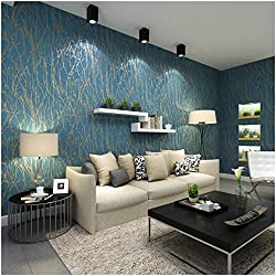 QIHANG Modern Minimalist Curve Tree Patterns Non-woven Wallpaper Roll Blue&gray Color 0.53m (1.73') x 10m(32.8')=5.3㎡(57 sq.ft)
