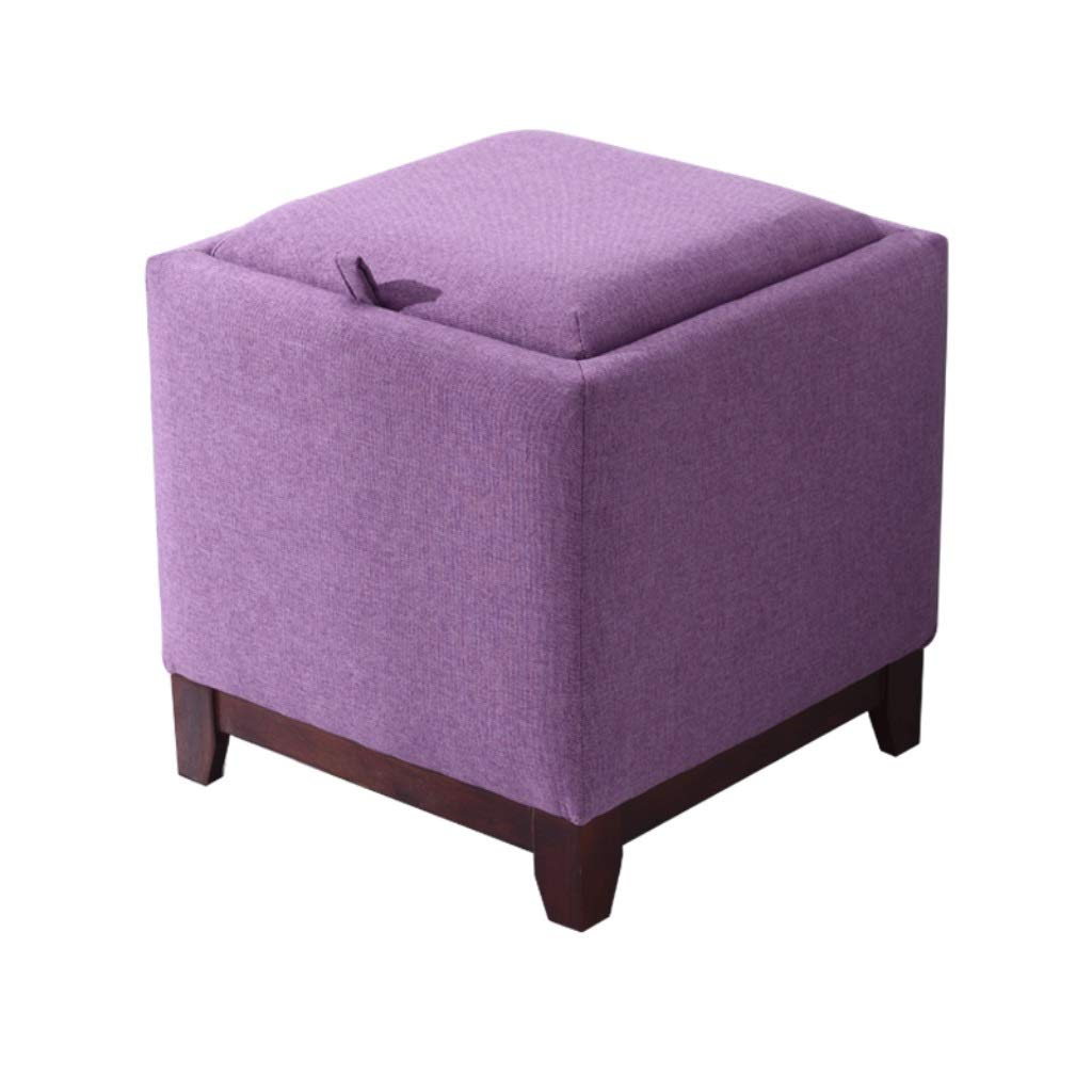 WXL Storage Stool - Solid Wood Leg Ottoman Home Living Room Storage Stool Creative Multifunctional Fabric Change Shoe Storage Stool (Color : Purple) by WXL