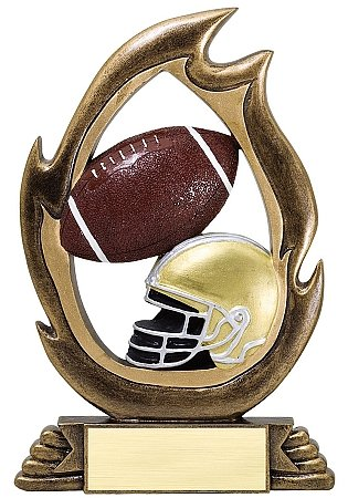 Decade Awards Football Flame Series Trophy | Gridiron Award | 7.25 Inch - Free Engraved Plate on Request