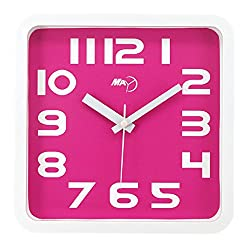 Maytime Modern Silent Non-ticking Wall Clock Square Quiet Large Wall Clocks Pink 9 Inches