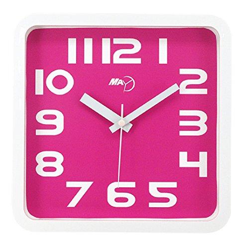 Maytime Modern Silent Non-ticking Wall Clock Square Quiet Large Wall Clocks Pink 9 - Clock Ansonia Shelf