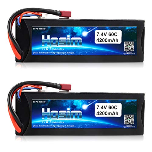 Hosim 2 Packs 2S 7.4V 4200mAh 60C Lipo Battery with Dean-Style T Connector for RC Boat Airplane Helicopter Kyosho FPV Quadcopter Drone Remote Control Car Toys Hobby (Hard Case)