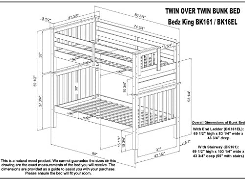 home, kitchen, furniture, bedroom furniture, beds, frames, bases,  beds 1 image Bedz King Tall Stairway Bunk Beds Twin over deals