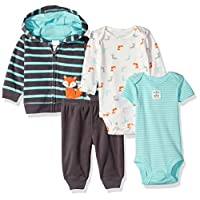 Simple Joys by Carter's Boys Baby 4-Piece Fleece Jacket Set, Navy/Turquoise F...