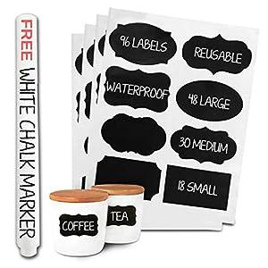 96-Premium-Chalkboard-Labels-Bulk-Free-Erasable-Chalk-Pen-Dishwasher-Safe-Chalk-Board-Mason-Jar-Labels-Removable-Waterproof-Blackboard-Sticker-Label-for-Jars-Glass-Bottle-Kids