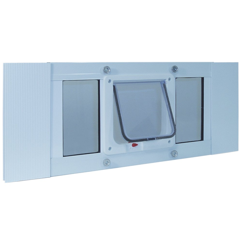 Ideal Pet Products Aluminum Sash Window Pet Door,  Adjustable Width 27'' to 32'', Cat Flap, 6.25'' x 6.25'' Flap Size, White