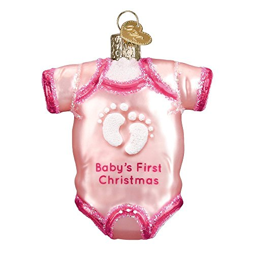 Glass Girl Ornament - Old World Christmas 32338 Ornament, Pink Baby Onesie