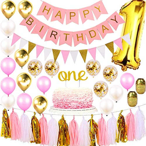 1st Birthday Girl Decorations Party Supplies Set | Princess First Pink n Gold Girls Theme Kit | 1 Year Cake Topper, Happy Birthday Banner Number Mylar Balloon, Latex and Metallic -