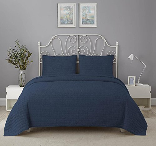Wonder Home Prewashed Oversized 3 Piece Cotton Quilted Coverlet Set, Classic Quilt Set with Crinkle Fabric for Luxurious Look, Luxury King Bedding Set, Preshrunk, Solid Navy Blue, 106''x96''