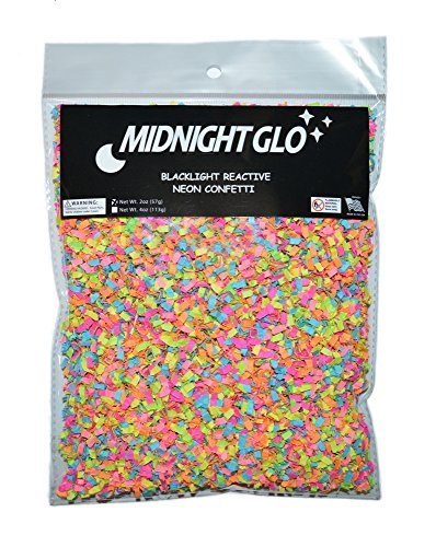 Midnight Glo Blacklight Reactive Neon Confetti Shred Great for Party Favors & Party Accessories -