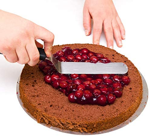 WisFox Spatules coudées à pâtisserie - Spatule à Glaçage en Acier Inoxydable Gâteau Pâtisserie Palette Pelle Cuisine Lisse, Lot de 4, Noir