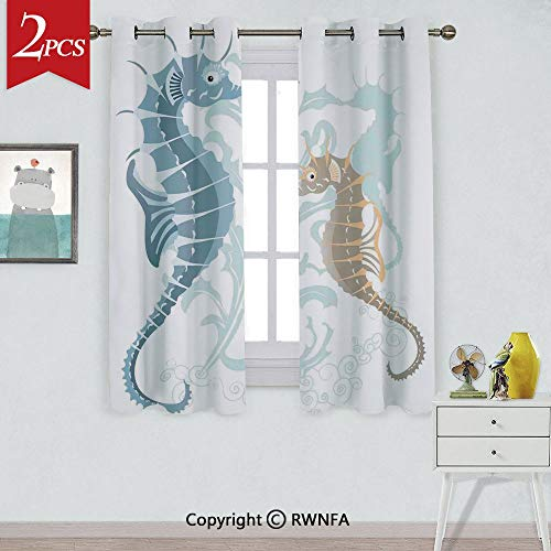RWNFA Curtain to Block Out heatPair of Little and Big Fishes in Soft Tones Featured Design Tropical Creatures Window Curtains,2 Panels,Each Panel Size is,W42xL63 Inch,Blue Cream