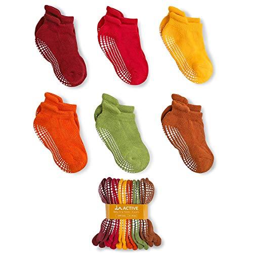 LA Active Baby Toddler Grip Ankle Socks - 6 Pairs - Non Slip/Skid Covered (Earth Tones, 12-36 - Burgundy Slip