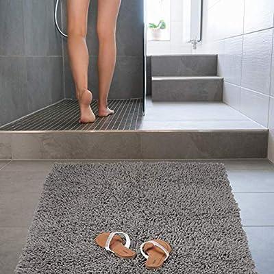Relaxdays Alfombra Baño Antideslizante y Mullida, Algodón, Gris, 150 x 80 cm: Amazon.es: Hogar