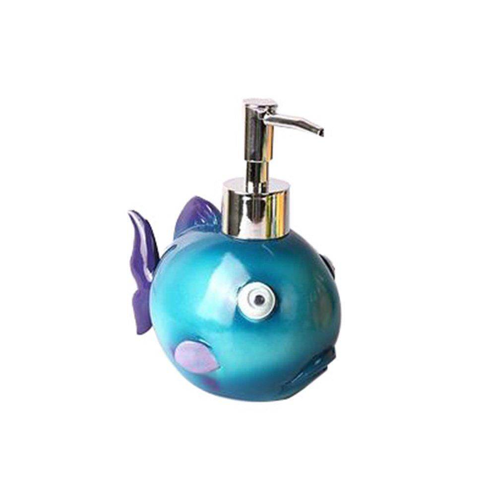 Leop Mediterranean Style Cute Decorative Fish One Piece Bathroom Accessory Set Soap Lotion Pump Dispenser Resin