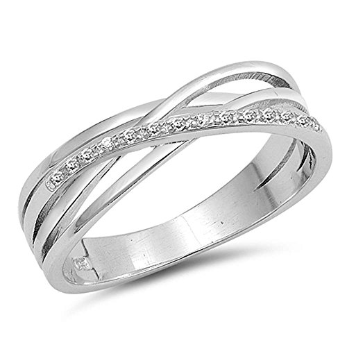 Sterling Silver Infinity Cubic Zirconia Multi Band Ring Sizes 7 -