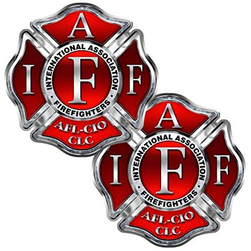 AZ House of Graphics Firefighter IAFF Maltese Cross 2 pack Stickers - #FS2022