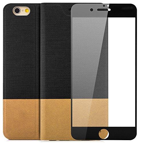 Custodia Apple iPhone 6 / 6S Plus (5,5) Pellicola Protettiva 3D Flip Wallet [zanasta Designs] Case Copertura con Portafoglio - Pieghevole con Porta Carte, Alta Qualità Nero