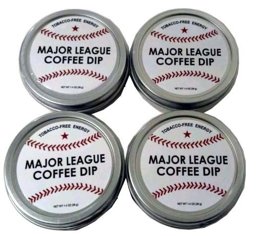 - Major League Coffee Dip (Pack of 4) Quit Chewing Tin Can Non Tobacco Nicotine Free Smokeless Alternative to Chew Snuff Snus Leaf