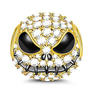 GNOCE Little Monster Black Plated 925 Sterling Silver Beads Charms with Cubic Zirconia for Halloween - Gold