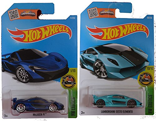 Car Honda Vintage (Hot Wheels 2016 Lamborghini Sesto Elemento Turquoise & Metallic Blue McLaren P1 2-Car Exotic Set)