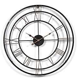 Lingxuinfo 24 Inch European Retro Round Large Metal Wall Clock Decorative Clock for Kitchen Living Room Bedroom Office (Red-black Pattern)