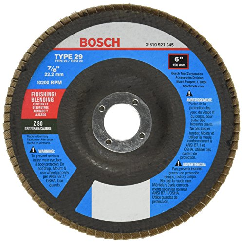 - Bosch FD2960080 Type 29 80-Grit Flap Disc, 6-Inch 7/8-Inch Arbor