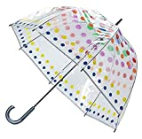 Totes Clear Bubble Umbrella with Color Trim (One Size, Dots)