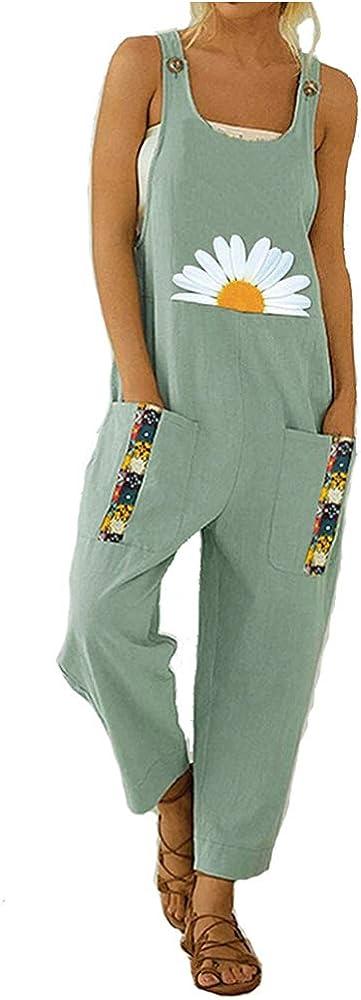 Treer Mujer Peto de Pantalones Largos Casual Verano Mono Suelto Moda Margarita Bolsillos Tiras Fiesta Pantalones de Babero Jumpsuit Playa Fiesta Pantal/ón