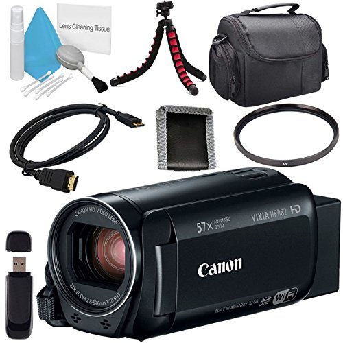Canon 32GB VIXIA HF R82 HFR82 Camcorder 1958C002 + Compact Camcorder Case + Memory Card Wallet + Card Reader + Mini HDMI Cable + Tripod Bundle by Canon