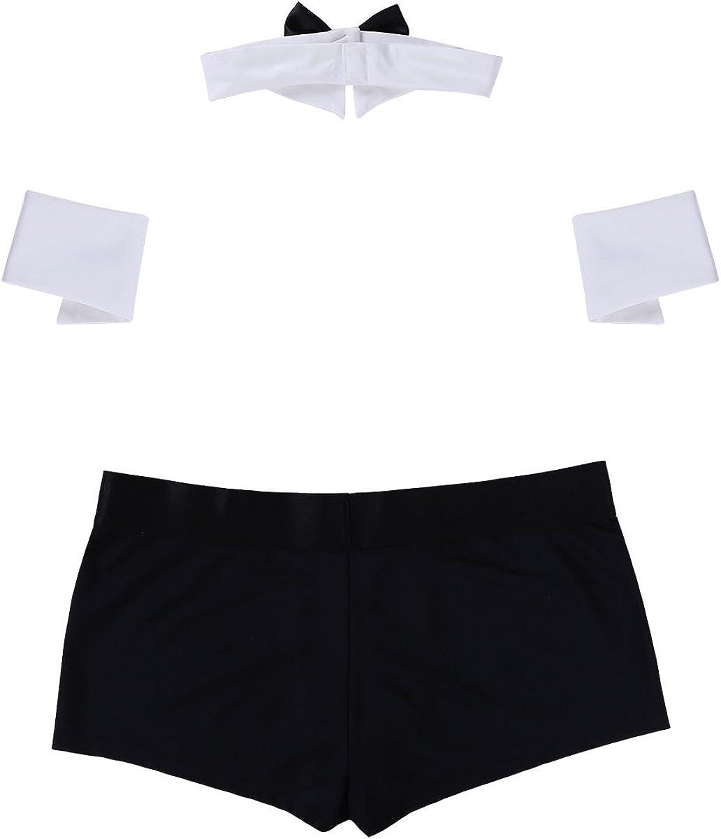 Mens Butler Lingerie Underwear Costume 3Pcs Tuxedo Thong G-string Collar Cuffs