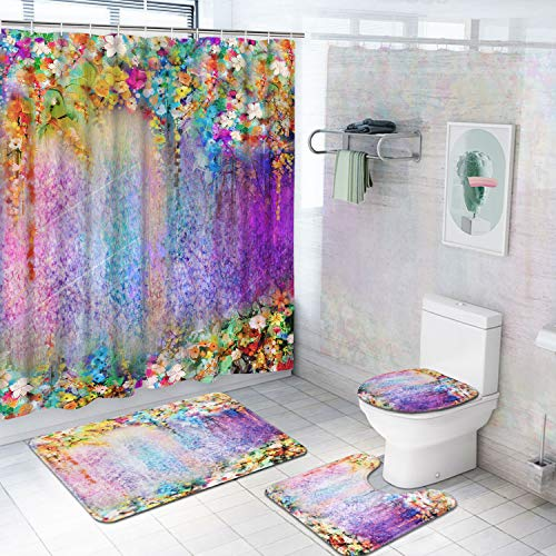 4 Piece Colorful Flower Shower Curtain Set with Non-Slip Rug, Toilet Lid Cover, Bath Mat and 12 Hooks, Floral Lotus Waterproof Shower Curtain Set for Bathroom (Rug And Bathroom Curtain Sets)