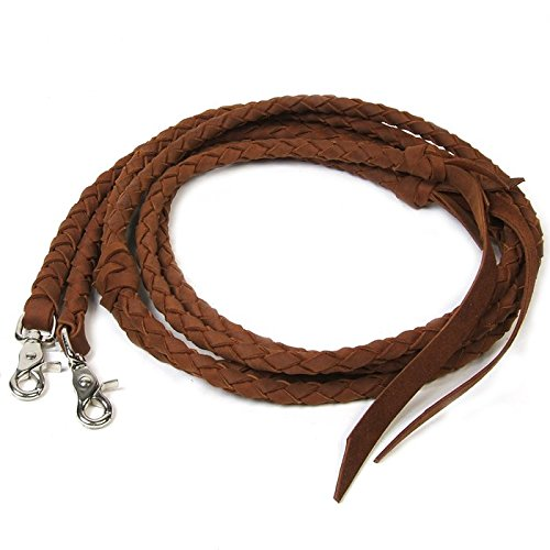 Snap Split Reins (Brown Braided Leather Split Reins)
