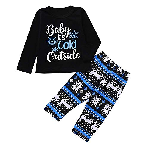 New Newborn Toddler Infant Baby Boy Girls Letter Print Tops Snowflake Print Pants Christmas Costume Outfits 6-12 Months ()