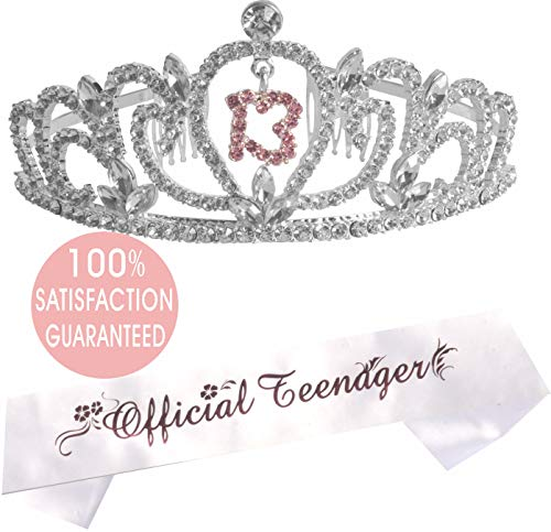MEANT2TOBE 13th Birthday Tiara and Sash   Happy 13th Birthday Party Supplies   Official Teenager Satin Sash and Crystal Tiara Birthday Crown for 13th Birthday Party Supplies and Decorations